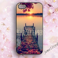Hello september iphone 5/5s,Love autumn iphone 4/4s case,Sonne Samsung Galaxy S3/S4/S5,love live iphone 5c ,Sunset,bridge,Beautiful scenery