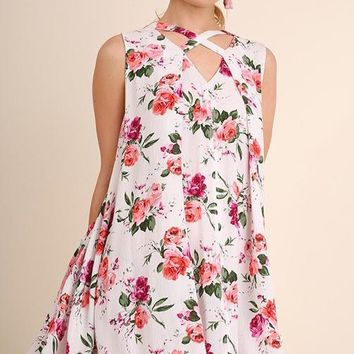 Floral Crossed Neckline Shift Dress