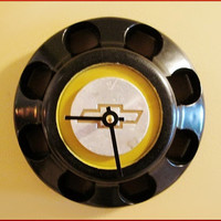 Wall Clock is a Repurposed Used Chevy Pick Up Truck Plastic Center Hub Cap for Man Cave Industrial Decor