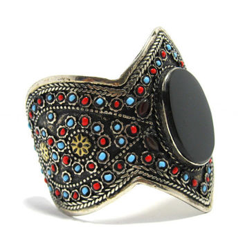 FREE SHIPPING Black Onyx Stone Cuff Bracelet,Colorful Beading,Afghan Kuchi Tribe Jewelry,Carving,Antique,Ethnic,boho,German Silver,Handmade