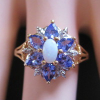 Amethyst Opal Ring 10K Yellow Gold Size 7 Vintage