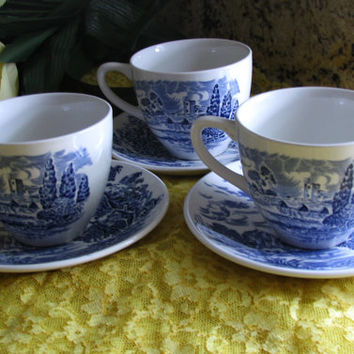 "Wedgwood China Enoch Tunstall ""Countryside"" Blue White Porcelain Cottage Tea Set, 6pc 1960's, Great  Cottage Birthday Gift, Cottage Decor"