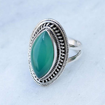 Green stone ring, silver ring, green ring, 92.5 sterling silver,silver green onyx ring,Natural  green onyx  stone Silver Ring, RNSLGO208