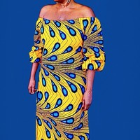 ABI African Print Balloon Maxi Dress With Head wrap