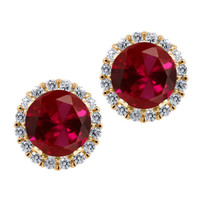 3.54 Ct Round Red Created Ruby 925 Yellow Gold Plated Silver Earrings