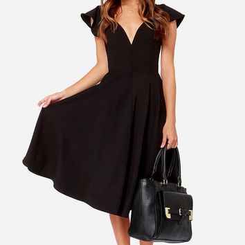 LULUS Exclusive Skirts So Good Black Midi Dress