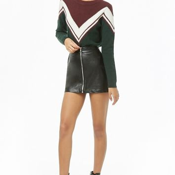 Zip-Front Faux Leather Skirt