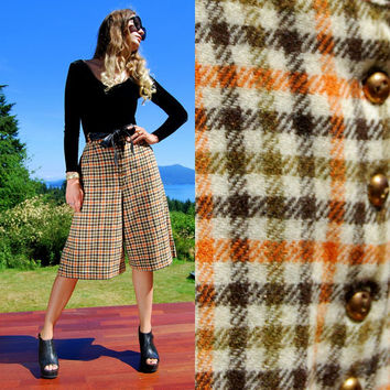 60's Wool Gaucho Capri Pants / SM MED Brown Gold Olive Checkered Plaid Culottes Shorts / High Waisted Palazzo Pant / Fall Gingham Trousers