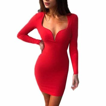 Women's Cold Shoulder Long Sleeve Party Dress