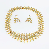 Vintage Gold Mod Bib Necklace and Earring Set