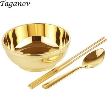 6.5 inch 3-piece set chopsticks bowl spoo n Dinnerware Set copper cutlery gold set porridge rice noodles dinner set china gifts