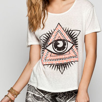 Full Tilt Eye Medallion Womens Hi Low Tee White  In Sizes