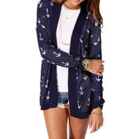 NavyWhite Anchor Print Light Sweater