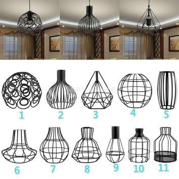 Vintage Lampshade w/ Cable Bulb Chandelier Sconce Light Screen Decor Black You PICK