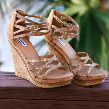 Not Rated Coral Sea Tan Cork Wedges