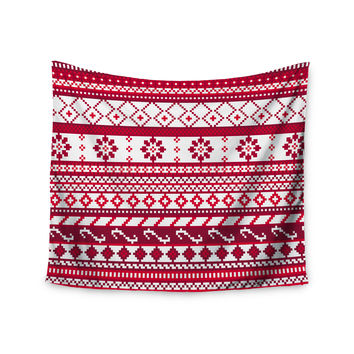 "Noonday Design ""Red Fairisle Christmas Pattern"" Red White Wall Tapestry"