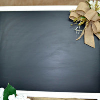 Antique White Framed Chalk Board W/ Burlap Bow Accent and Flowers- Chalk Painted and Embellished to PERFECTION- Wedding Decor or Home Decor