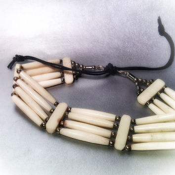 Choker, warrior, native, spirit, tribe, free people, Handmade, wood, bone, hair pipe, native american, tribal, indian, choker