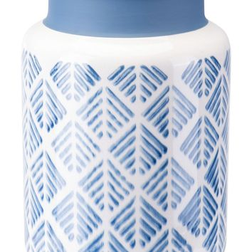 Zig Zag Vase Lg Steel Blue And White
