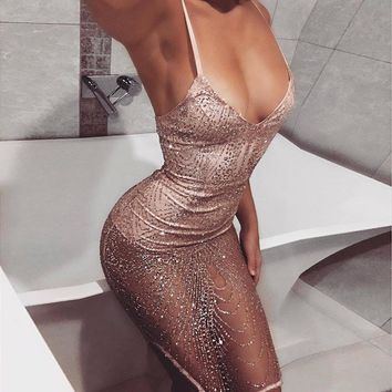 Women V-Neck Strap Sequins Mini Dress