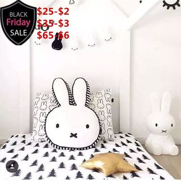 Nordic Kid Room Decor Cute Cushion Brand Rabbit Decoration Pattern Cotton Plush Cushions Bunny Pillows 40*60cm Children Toy Gift