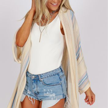 Striped Knit Cardigan Natural Multi