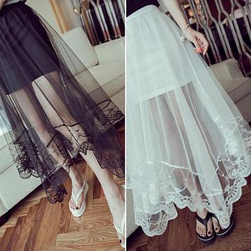 Spring 2016 Lady Women Gauze See Through Tulle Skirts Lace Floral Gothic Long Maxi Skirt