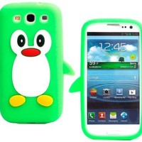 Cute 3D Cartoon Penguin Silicone Case for Samsung Galaxy S3 i9300 Green