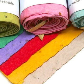 Seed Tape Favors- 20 Colorful Wildflower Seed Tape Rolls for Wedding Favors, Showers, Garden Parties, Bat Mitzvahs, Corporate Gifts