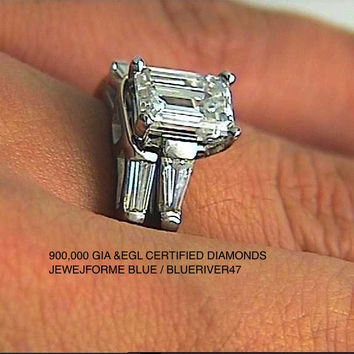 2.26ct Emerald cut Diamond Engagement Platinum Rings and wedding Ring JEWELFORME BLUE