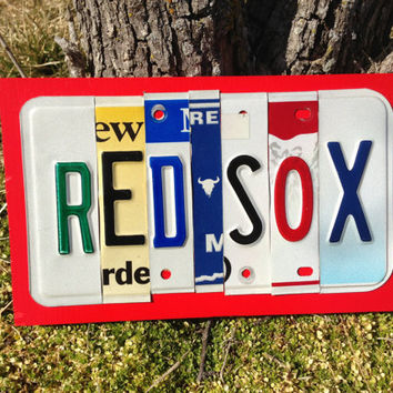 RED SOX Custom Recycled License Plate Art Sign Plaque Boston