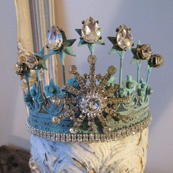 Jeweled statue crown tiara ornate metal light blue turquoise shabby cottage chic distressed home decor embellishment anita spero design