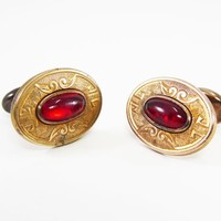 Victorian Rolled Gold Oval Cufflinks, Red Glass Oval Cabochons, AS-IS Antique Mens Jewelry Vintage 1890s 1900s Mens Accessories Gift for Him