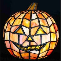 "0-000146>7""h Tiffany Halloween Pumpkin Orange Jack O Lantern"