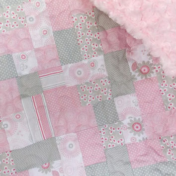 Baby Girl Quilt - Lap Quilt - Sofa Throw - Blanket - Modern - Shabby Chic - Pink - Grey - Minky Rose Swirl