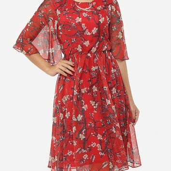 Casual Floral Cape Sleeve Exquisite Round Neck Chiffon Skater Dress