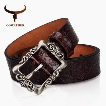 COWATHER 2017 cow genuine leather belts for Women luxury strap female belt Cashew flowers high quality pin buckle 3.2cm XF022