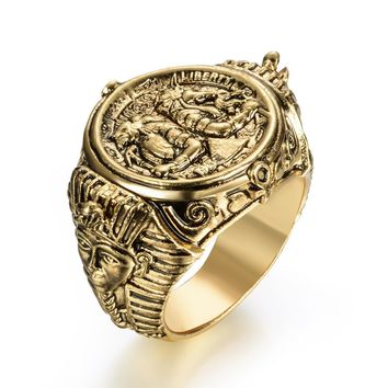 Ancient Egyptian God Ring Horus Anubis Rangers Coin Rings