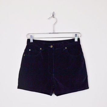 Vintage 80s 90s Black Velvet Short Black Short High Waist Short Mini Short Hot Pant 90s Short 90s Grunge Short Gypsy Short Women M Medium