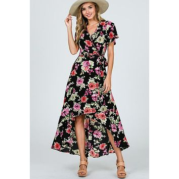 Gardens of Paradise High Low Wrap Dress - Black