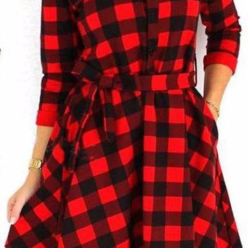 Woman's Black/Red Plaid Button Up Front Mini Dress/Tunic with Front Tie