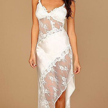 Nightgown - Bridal Summer Satin & Lace (Robe available) (XS-Large)