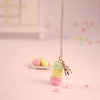 macaroons necklace  food jewelry by SweetArtMiniatures on Etsy