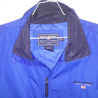Vintage POLO SPORT Blue  90s Windbreaker Size XL Spell Out Flag Dope Ralph Lauren