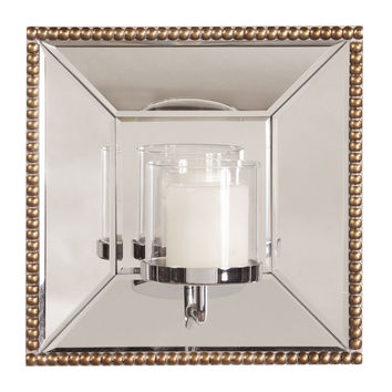 "Howard Elliott Lydia Square Mirror w/ Candle Holder 12"" x 12"" x 6"""