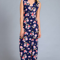Enchanting Floral Maxi Dress - Navy