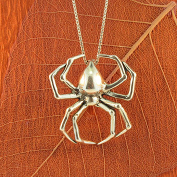 Large Silver Spider Charm Pendant