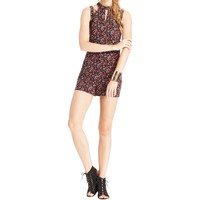One Clothing Womens Juniors Floral Print Cut-Out Romper