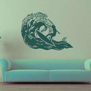 ik2591 Wall Decal Sticker wave surfing board sports shop stained living room