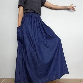Women Plus size Long Skirt,Comfortable Unique Cotton Denim Lightweight (Skirt-1).
